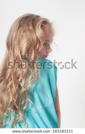Photo from the back of little girl - stock photo