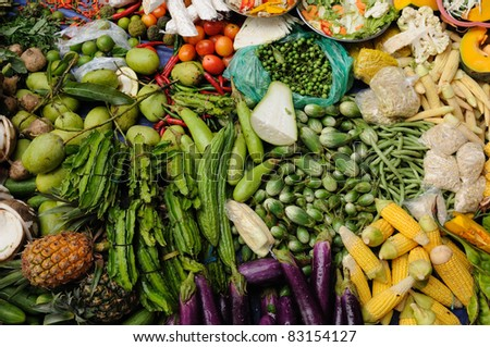 Photo from traditional exotic tribal market (pasar) in Indonesia on the Kalimantan island, Fresh mix vegetable, Indonesia, Borneo