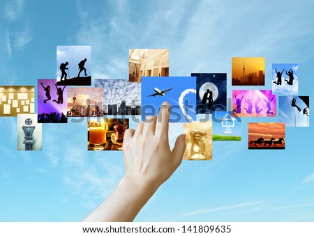 PHOTO GALLERY ON TOUCH SCREEN. - stock photo
