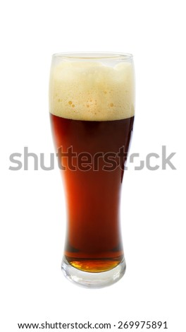 photo glass with dark beer on a white background