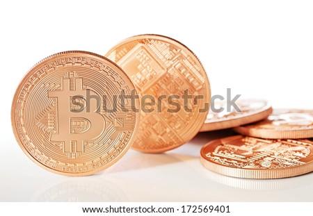 Photo .Golden Bitcoins (new virtual money )  - stock photo