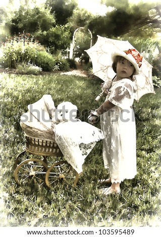 Photo/graphic illustration of small old fashion girl walking her baby buggy outdoors - stock photo