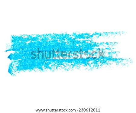 photo grunge blue wax pastel crayon spot isolated on white background - stock photo