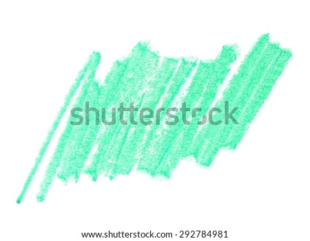 photo grunge green wax pastel crayon line isolated on white background - stock photo