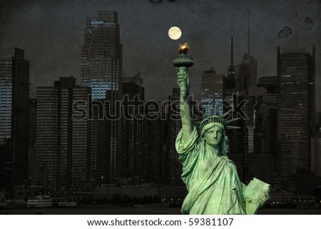 photo grunge new york city skyline over the hudson river - stock photo