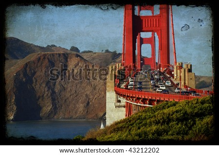 photo grunge of the golden gate bridge in san francisco, usa