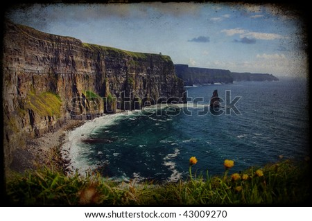 photo grunge texture beautiful scenic irish landscape - stock photo