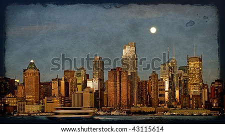 photo grunge texture capture new york cityscape skyline, usa - stock photo