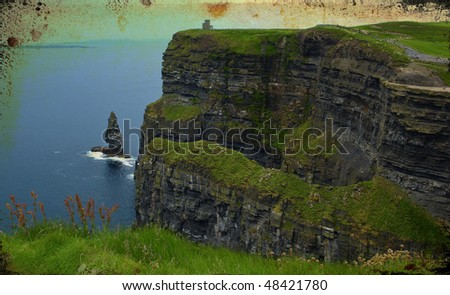 photo grunge texture famous cliffs of moher,sunet capture,west of ireland - stock photo