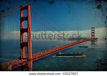 photo grunge texture  of the golden gate bridge in san francisco, usa