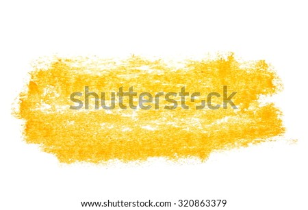 photo hatched grunge yellow wax pastel crayon spot isolated on white background - stock photo
