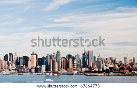 photo high contrast new york city skyline cityscape - stock photo