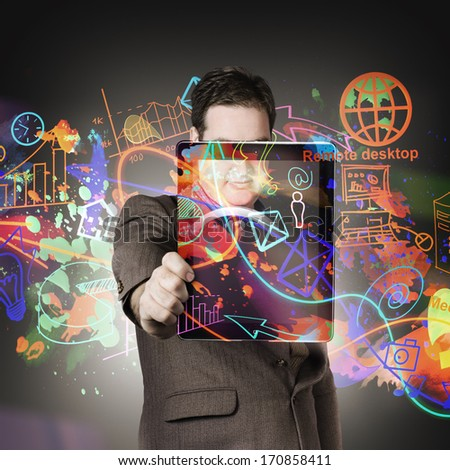 Photo illustration design of a technology savvy man using mobile network on tablet to access social media and online communications - stock photo