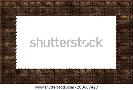 Photo illustration of a rusty metal riveted wall with a clipping path to create a frame. - stock photo