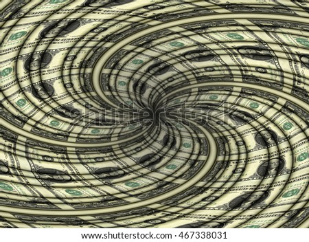 Photo illustration of a sheet of U.S. one dollar bills spiraling to center point.