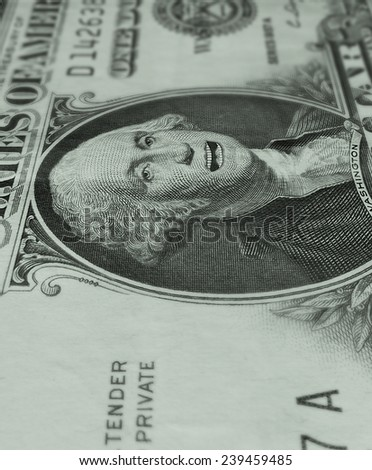 Photo-Illustration of George Washington on the one dollar bill with his mouth open, speaking