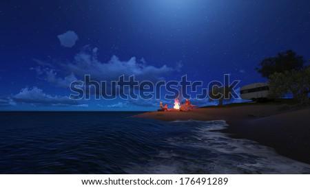 photo illustration of night party on the beach - stock photo