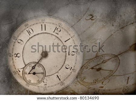 Photo Illustration of vintage clock with old texture - stock photo