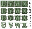 Photo-Illustration using parts of U.S. currency bills retouched and re-illustrated to create a new Money-themed alphabet. Seven total files can be downloaded to get a complete set. - stock photo