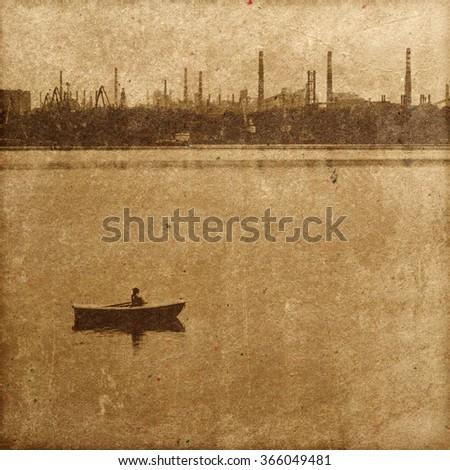Photo in retro style. Dnieper River near the island of Khortytsya - stock photo