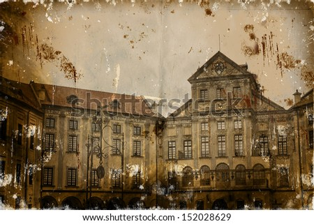 Photo in retro style. Paper texture./Aged textured photo with Njesvig castel - stock photo
