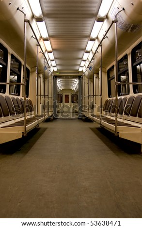 Photo inside empty subway wagon
