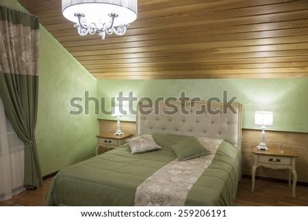 Photo Interior bedroom at night - stock photo