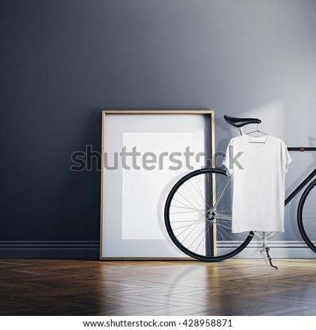 Photo Interior Modern Studio House with Classic bicycle.Empty White Canvas on Natural Wood Floor.Blank Tshirt hanging Bike. Horizontal mockup - stock photo