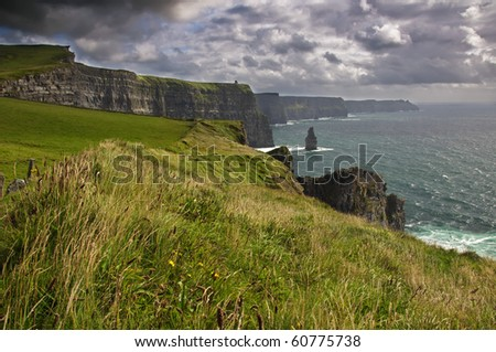 photo landscape and seascape on a cloudy day west ireland - stock photo