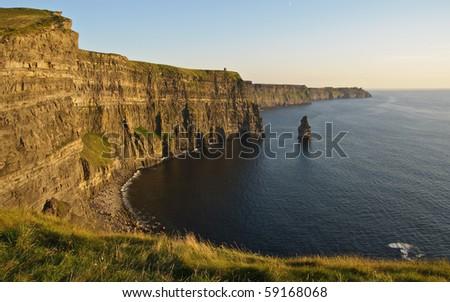 photo late sunset famous irish cliffs of moher - stock photo