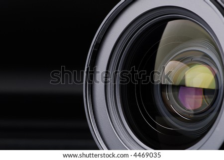 Photo lens with lens reflections - stock photo