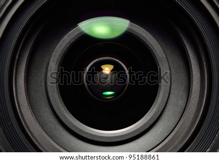 Photo lens with lens reflections close up shot - stock photo