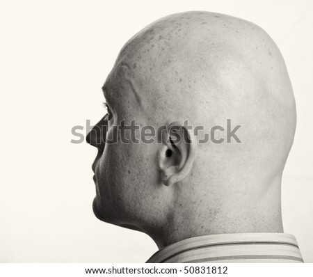 photo male portrait b&w close up on white backdrop - stock photo