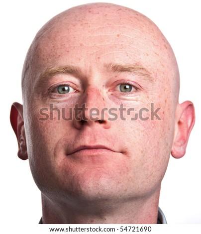 photo male portrait close up on white backdrop - stock photo