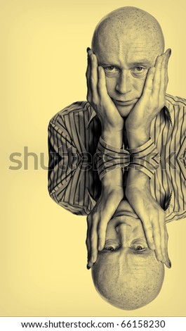 photo male two tone concern hands face portrait - stock photo