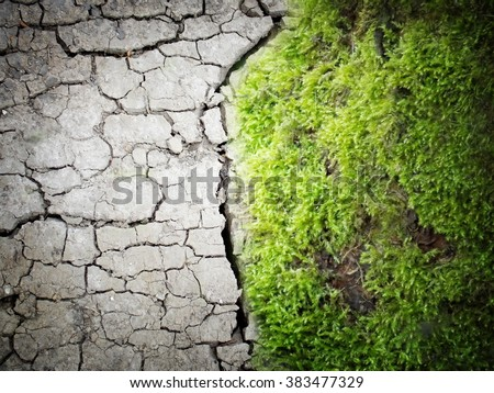 Photo manipulation of opposition background with dry ground on one side and green grass on other side - stock photo