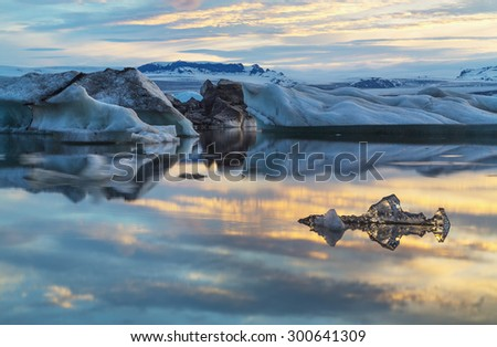 Photo midnight on the lake Jokulsarlon, Iceland - stock photo
