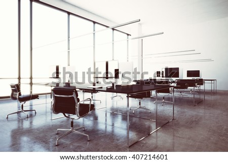 Photo modern wifi zone vip lounge airport with panoramic windows.Generic design computers and generic white furniture in contemporary conference room.Open space for coworking.Horizontal. 3D rendering