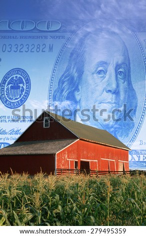 Photo montage: American currency, red barn and corn field - stock photo