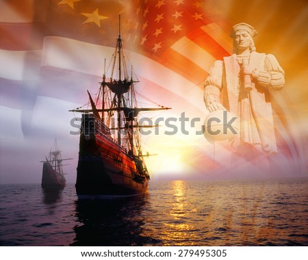 Photo montage: Christopher Columbus, American flag, sailing ships - stock photo