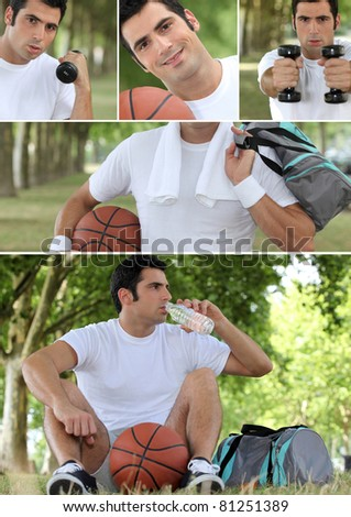 Photo-montage of a basket-ball player - stock photo