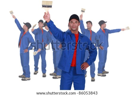 Photo-montage of a housepainter with brush - stock photo