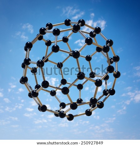Photo-montage of a microscopic molecule hovering over a blue sky - stock photo