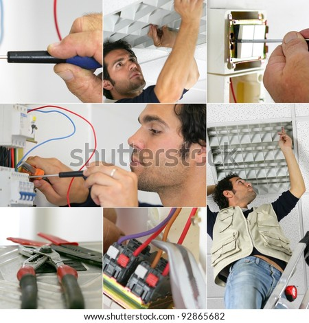Photo-montage of an electrician at work - stock photo