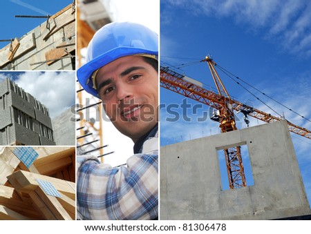 Photo-montage of construction industry - stock photo