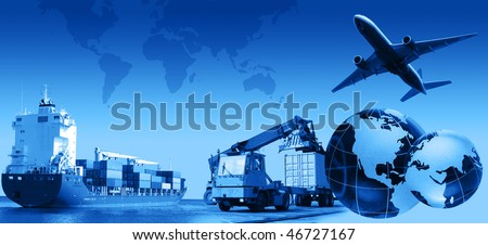Photo montage of freight/transport business activities, complex. - stock photo