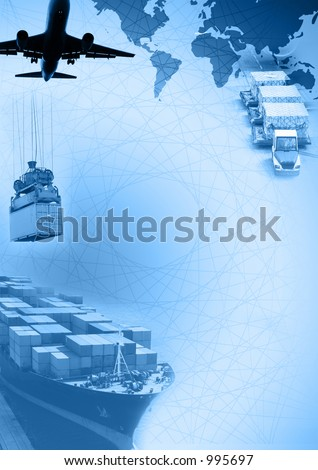 Photo montage of freight/transport business activities, complex.(Full 300dpi A4 resolution) - stock photo