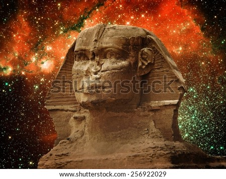 Photo-montage of Great Sphinx of Giza and small Magellanic Cloud (Elements of this image furnished by NASA) - stock photo