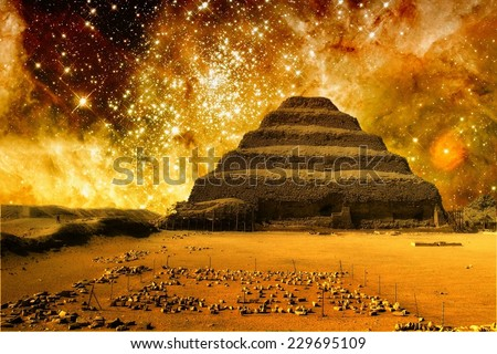 Photo-montage of Step Pyramid at Saqqara and the Tarantula Nebula (Elements of this image furnished by NASA) - stock photo