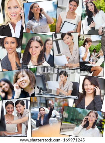 Photo montage of successful interracial mixed race business women, businesswoman using mobile cell phones, laptop and tablet computers, working in the city and in the office - stock photo